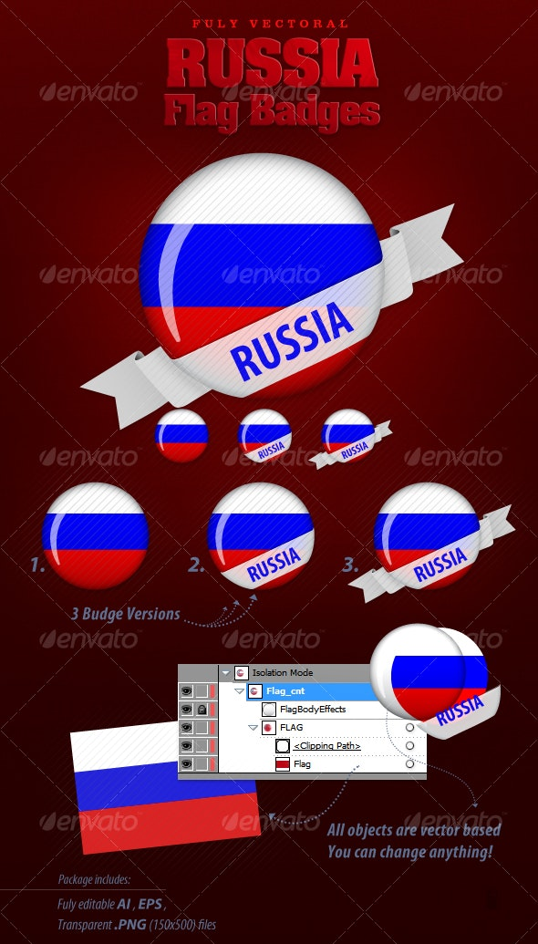 Russia Flag Badges - Decorative Vectors