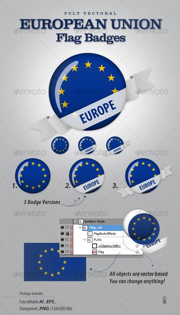 European Union Flag Badges - Characters Vectors