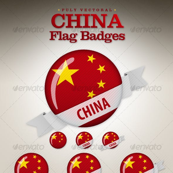 China Flag Badges