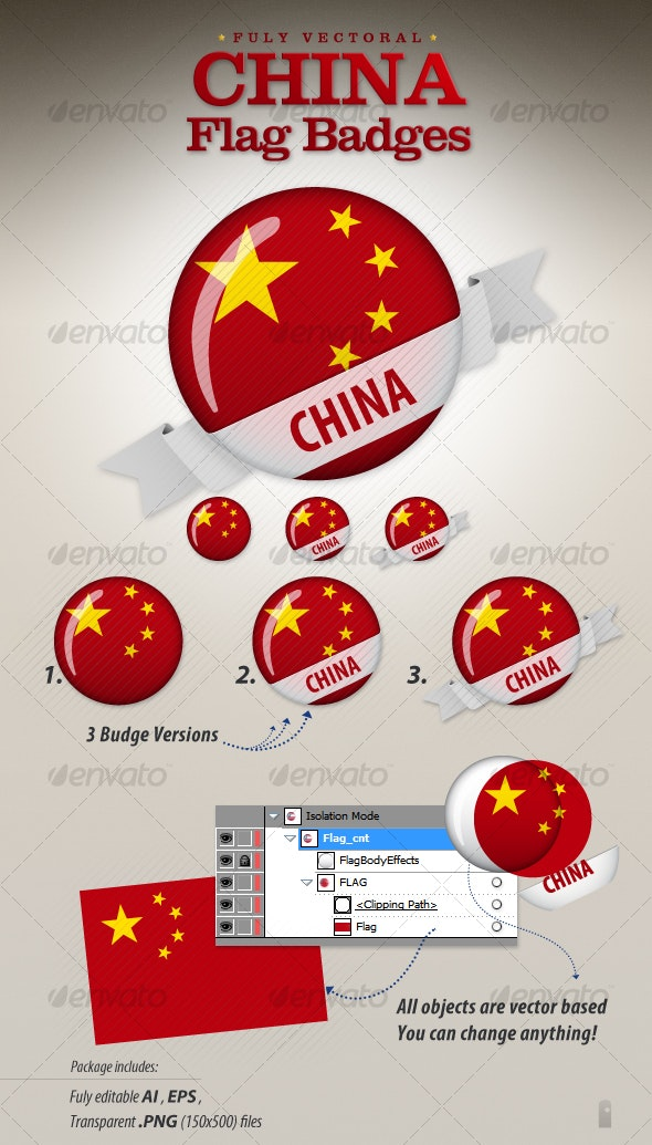 China Flag Badges - Decorative Vectors
