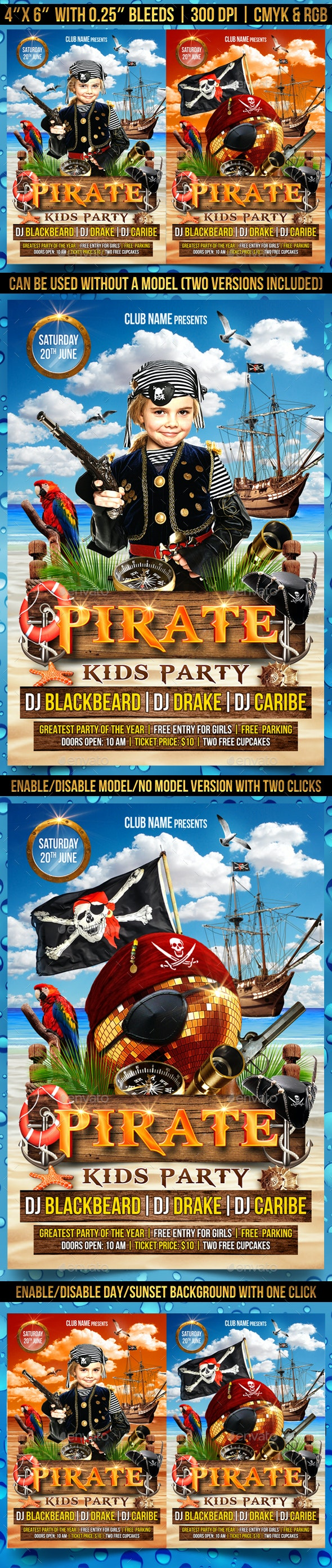 Pirate Kids Party Flyer Template - Clubs & Parties Events