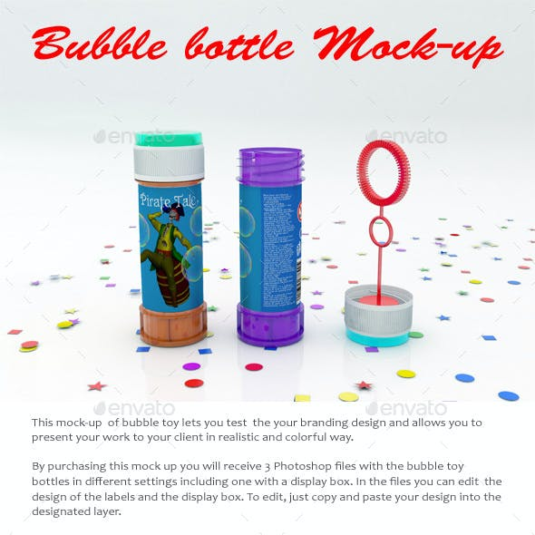 Soap Bubbles Bottle Mock-Up