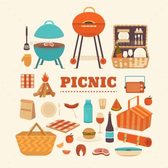 Set of Summer Picnic Items