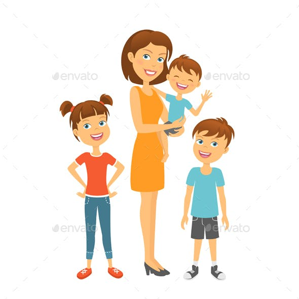 Mother with Kids Happy Family