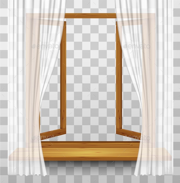 Wooden Window Frame with Curtains on a Transparent Background - Backgrounds Decorative