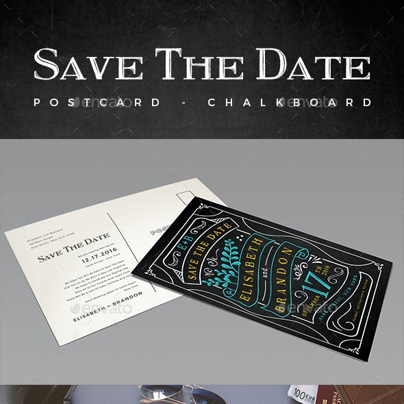 Elegant Chalkboard Save The Date Postcard | Volume 3