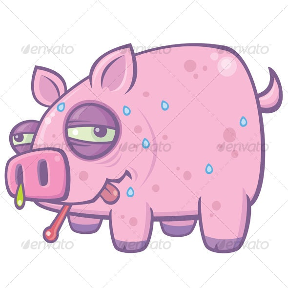 Cartoon Swine Flu Pig - Animals Characters