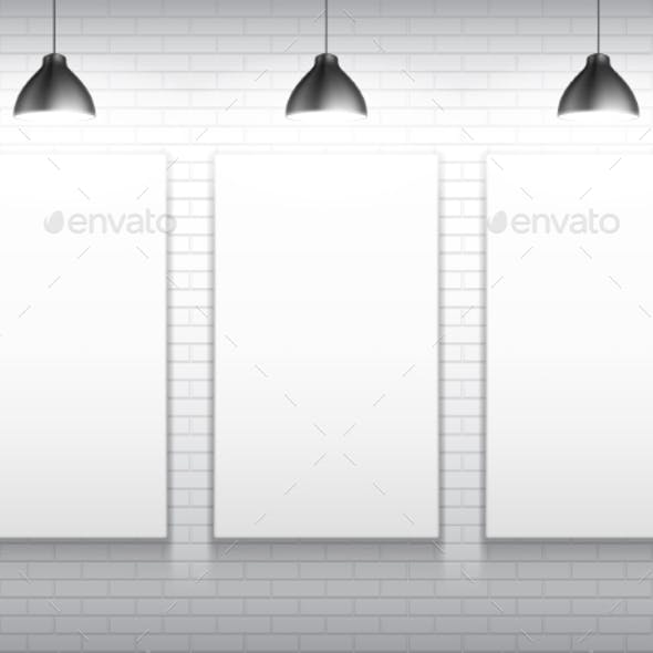 Three Blank White Poster Templates