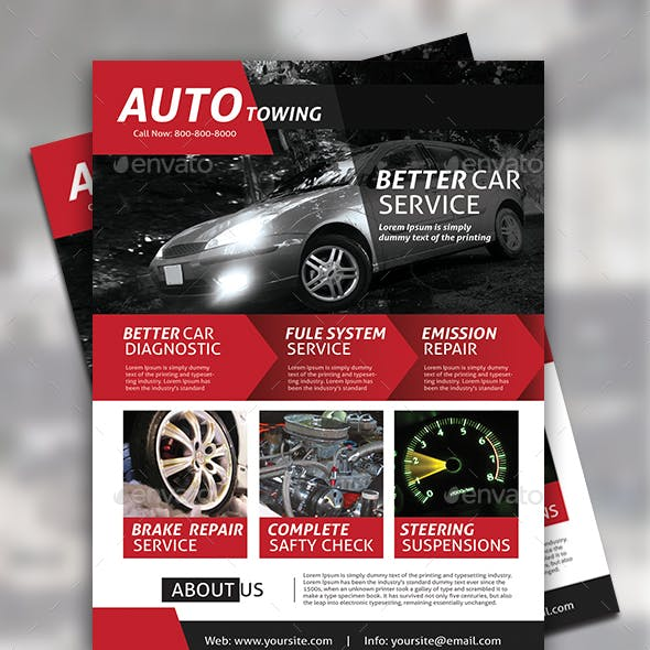 Automobile Towing Flyer Template