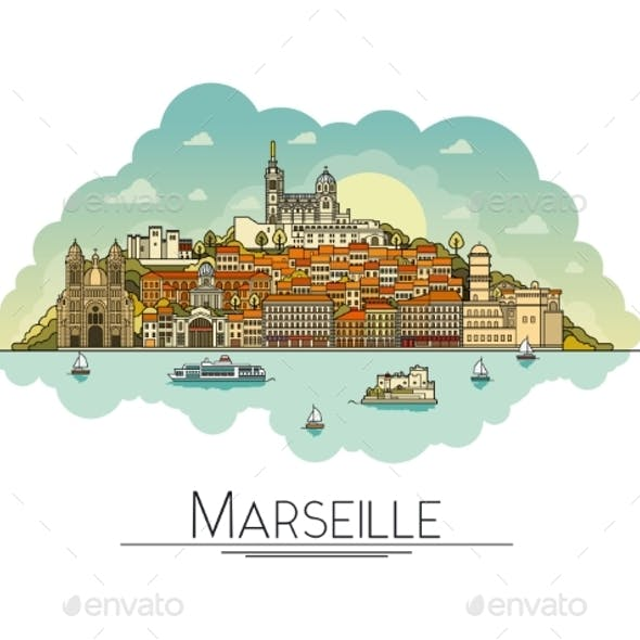 Line Art Marseille, France Travel