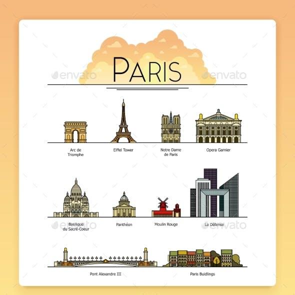Line Art Paris, France Travel Landmarks