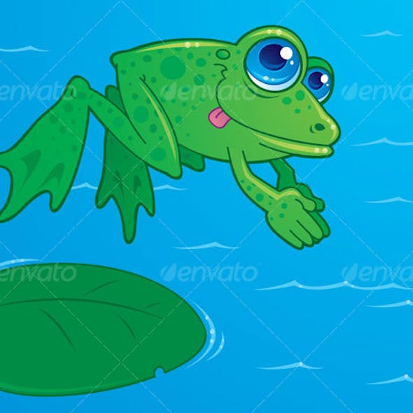 Diving Frog Cartoon