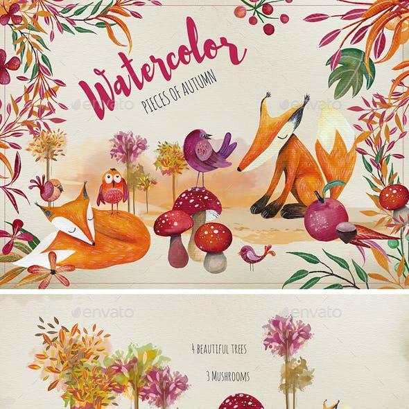 Watercolor Set - Pieces of Autumn