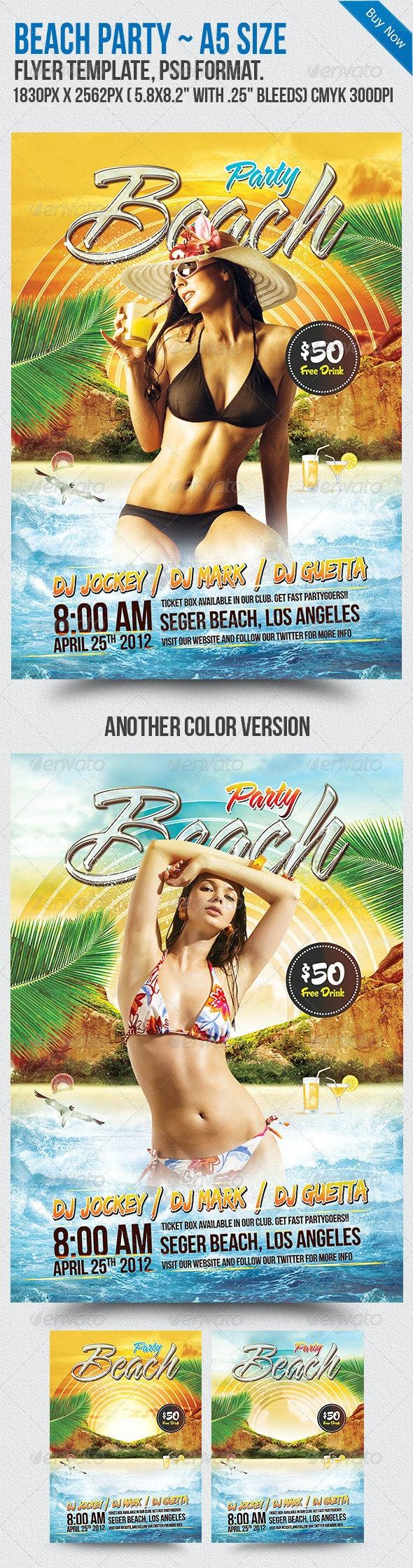 Beach Party A5 Flyer Template - Flyers Print Templates