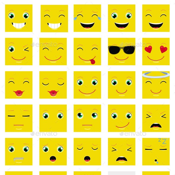 Square Emoticons Vector Set
