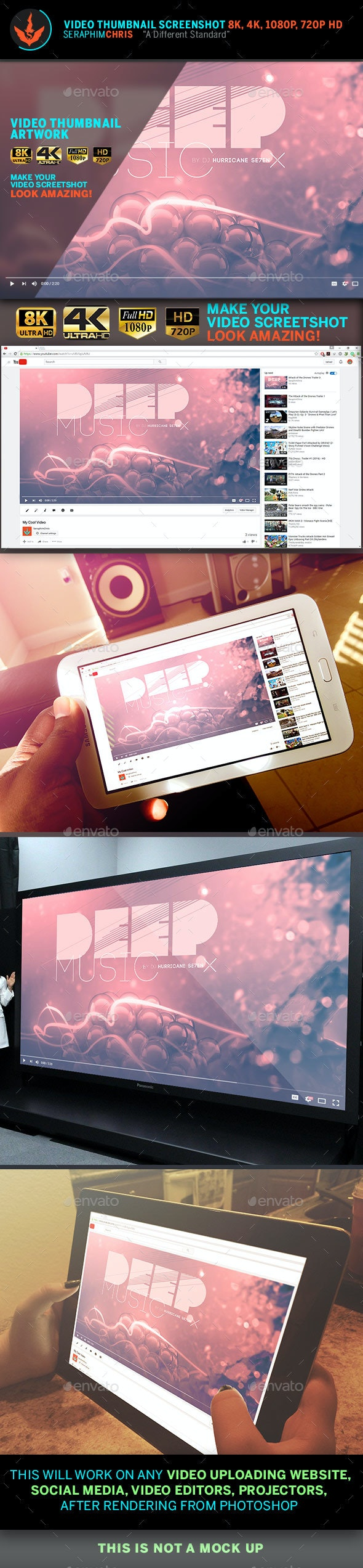 Deep Music YouTube Video Thumbnail Screenshot Template - YouTube Social Media