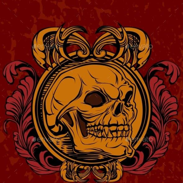 Illustration Of The Skull In Retro Style