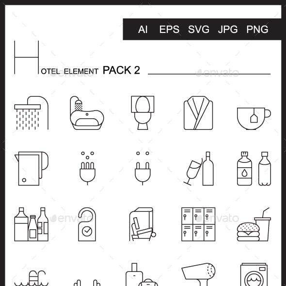 Airport Element Line Icon Set 2