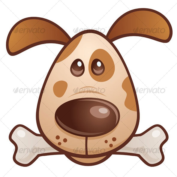Brown Puppy With Bone - Animals Characters
