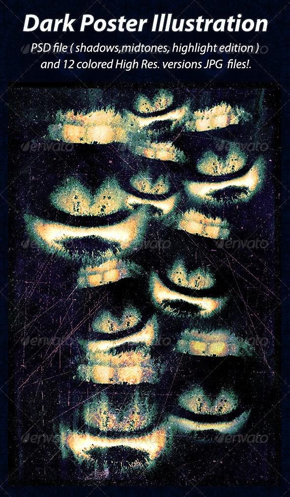Dark Poster Illustration - People Illustrations