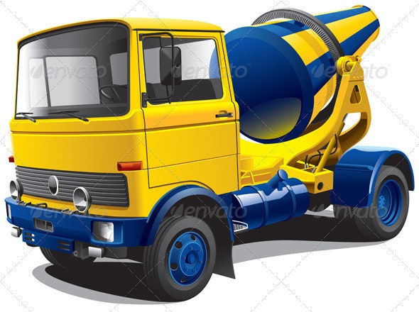 Old-fashioned Concrete-mixer - Objects Vectors