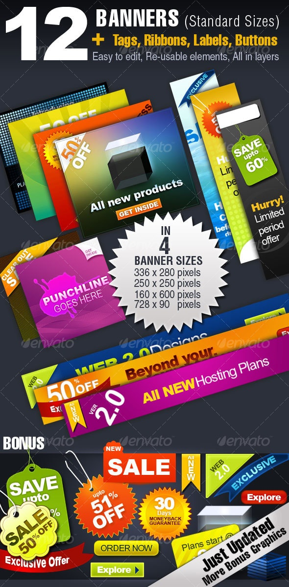 12 BANNERS -4 Sizes + Tags, Ribbons, Buttons,... - Miscellaneous Web Elements