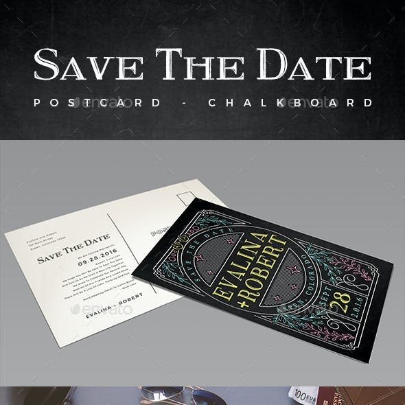 Elegant Chalkboard Save The Date Postcard | Volume 2