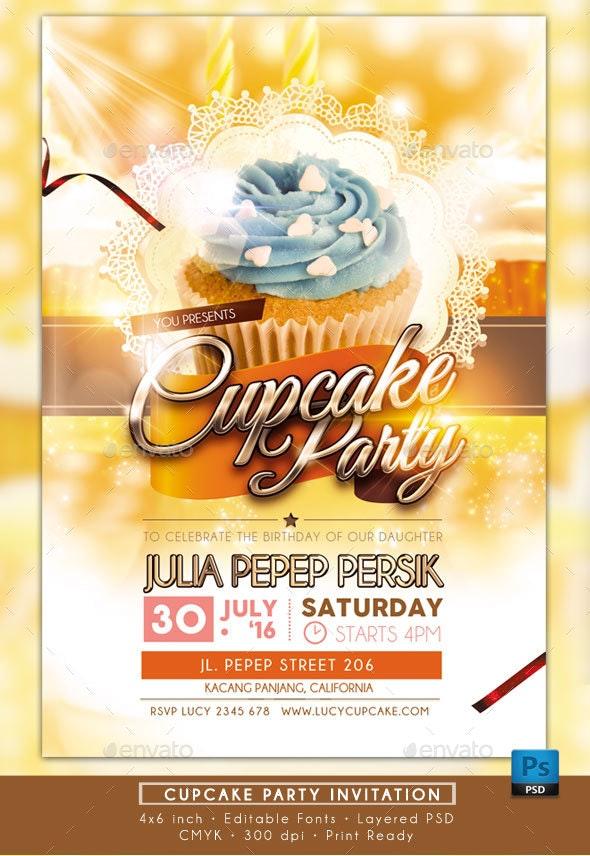 Cupcake Party Invitation - Invitations Cards & Invites