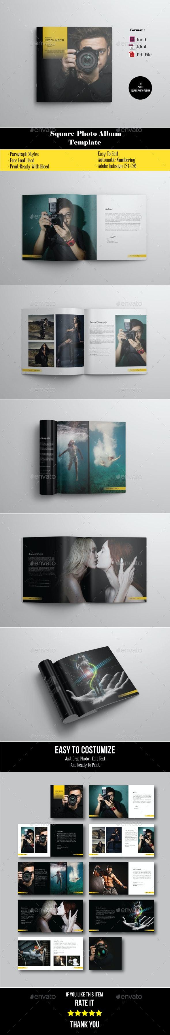 18 Pages Square Photo Album Portofolio Photographer - Photo Albums Print Templates