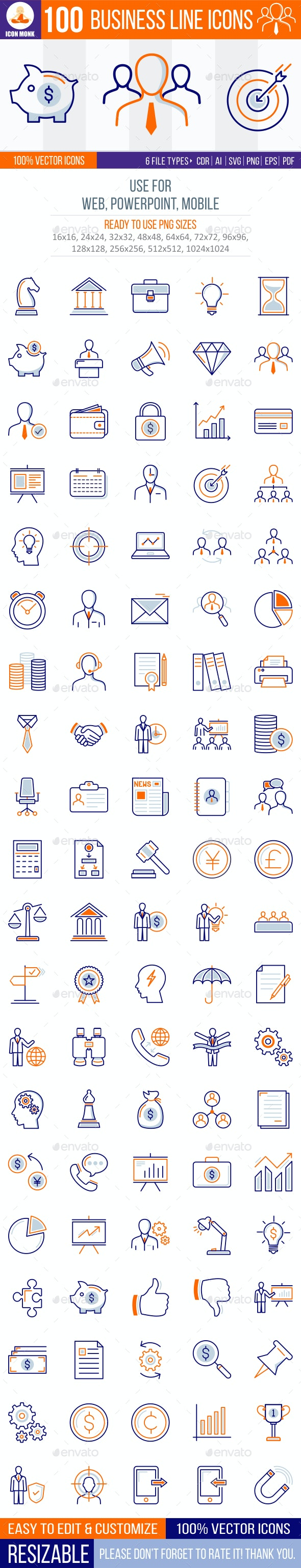 100 Corporate line Icons - Business Icons