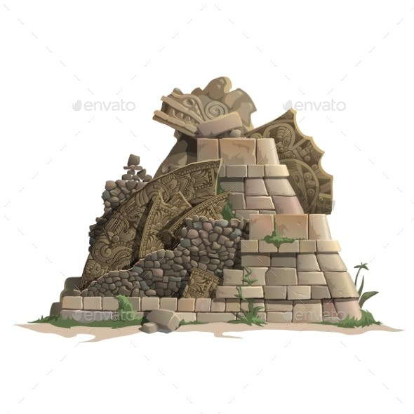 Ruins Of Antique Mayan Pyramid, Cartoon Style