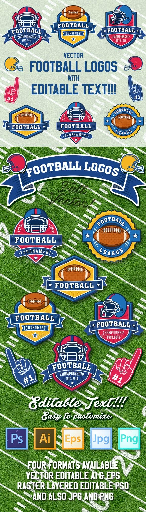 American Football Vector Logos - Sports/Activity Conceptual