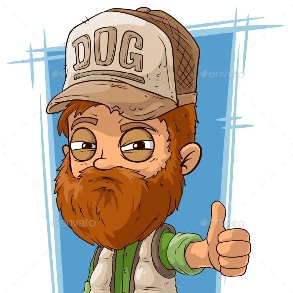 Cartoon Bearded Trucker in Cap