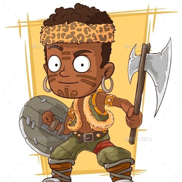 Cartoon Zulu Warrior with Axe