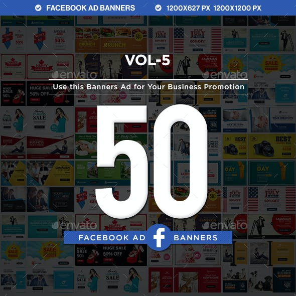 Facebook AD Banners Vol-5  - 25 Designs - 2 Sizes Each
