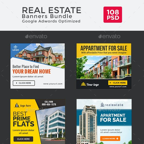 Real Estate Banners Bundle - 6 Sets - 108 Banners