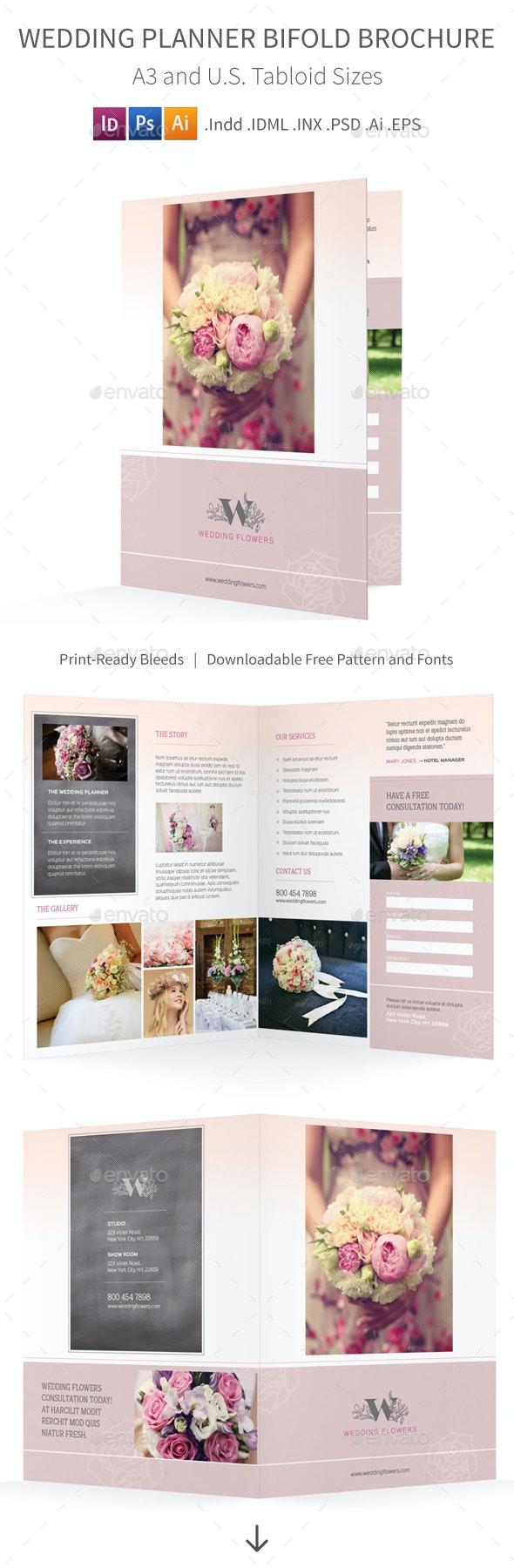 Wedding Planner Bifold / Halffold Brochure - Informational Brochures