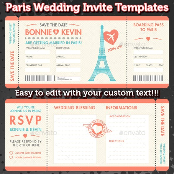 Paris Wedding Invite Tickets