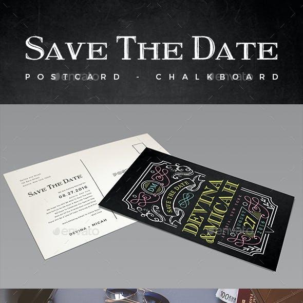 Elegant Chalkboard Save The Date Postcard   Volume 4