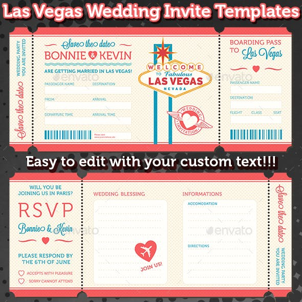 Las Vegas Wedding Invite Tickets