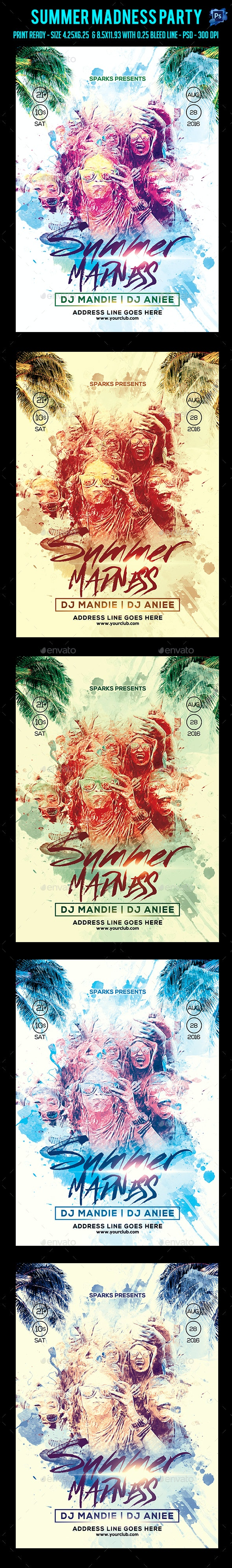 Summer Madness Party Flyer  - Clubs & Parties Events