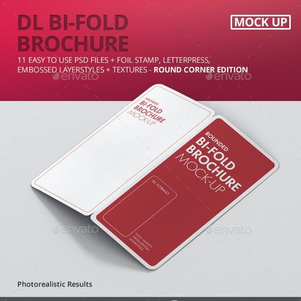 DL Bi-Fold Brochure Mock-Up - Round Corner