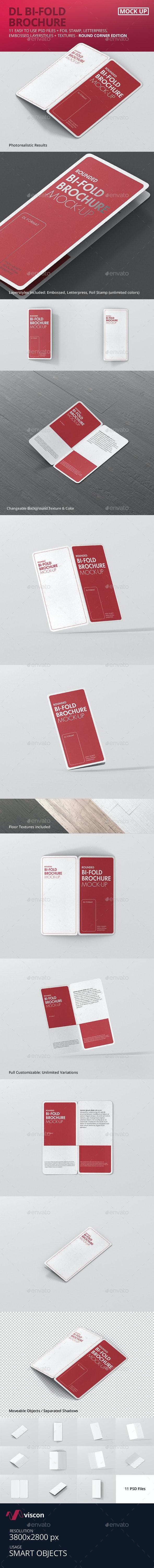 DL Bi-Fold Brochure Mock-Up - Round Corner - Brochures Print
