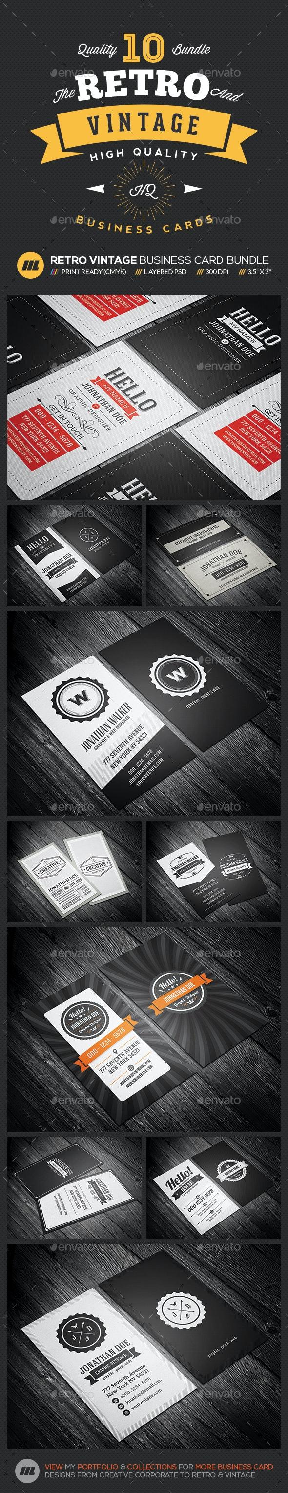 Mega 10 in 1 Bundle - Retro Vintage Business Card Template - Retro/Vintage Business Cards