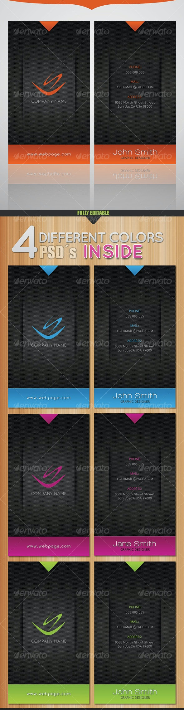 Modern Colors Business Card - 4 Different Colors - Corporate Business Cards