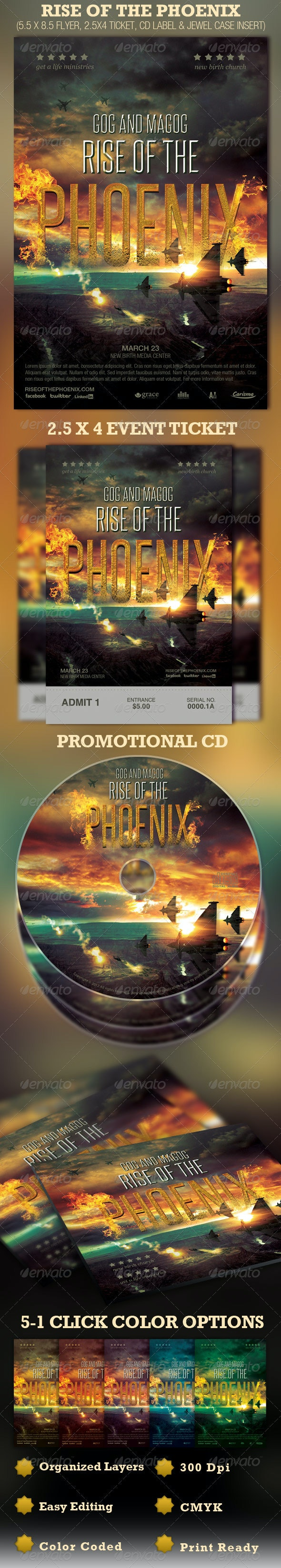Rise of the Phoenix Flyer, Ticket and CD Template - Church Flyers