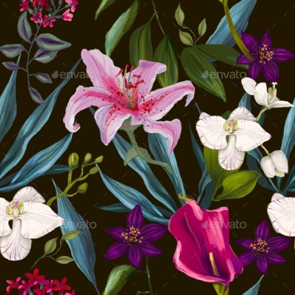 Seamless Exotic Floral Fashion Pattern - Backgrounds Decorative