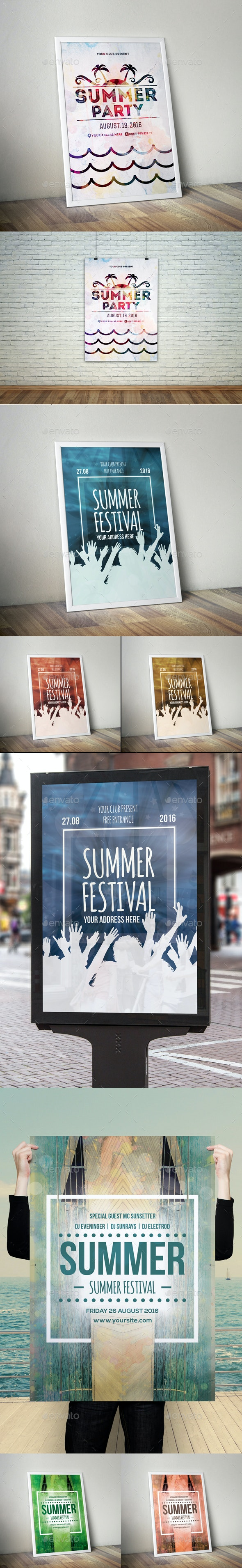 Summer Flyer Poster Bundle - Clubs & Parties Events