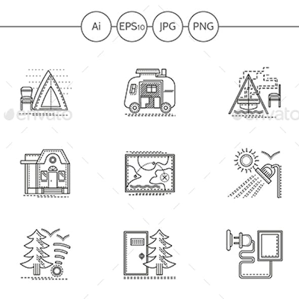 Camping in Forest Flat Line Vector Icons Set