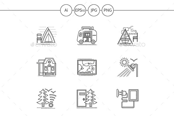 Camping in Forest Flat Line Vector Icons Set - Man-made objects Objects